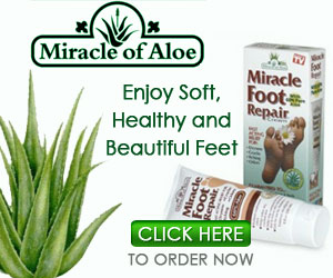 As Seen At TV Presents: Miracle Foot Repair - FREE Sample - If your feet are cracked because they�re dry�if the itching drives you crazy� if your feet are so rough they snag your stockings �if you pick at them till they�re raw�then you should know about a wonderful product that will give you fast relief and can make your feet feel many years younger.  Miracle Foot Repair yields prompt satisfying Results After Miracle Foot Repair Skin is soft and Smooth!  Miracle Foot Repair� is made from the gel of the Aloe Vera plant which has been used for 4,000 years to help unbearable foot problems caused by dry skin. It is a fast-acting, gentle, natural remedy and skin moisturizer that penetrates deeply into the sub-layers of the skin to get at the cause of the problem.  Users say it feels so good and works so fast they can�t believe it! If you suffer from any of these foot problems, you should try it as soon as you can.. Available here on http://www.AsSeenAtTV.com!