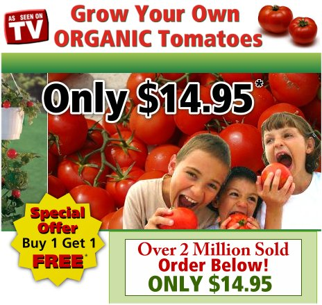 As Seen At TV Presents: Upsy Downsy - Only $14.95<br>Buy 1 Get 1 FREE! - The Upsy Downsy Tomato Planter allows tomatoes to grow in their best position - upside down. Just fill the Upsy Downsy with potting soil and your favorite tomato plants. Now you can prune, harvest and fertilize without kneeling or bending. You'll never need stakes or cages. And because the Upsy Downsy never touches the ground, you won't be troubled by cut worms, slugs, or fungus. Works great for peppers, cucumbers, petunias and other plants also. Grow two kinds - big delicious and grape tomatoes. Everything is included - seed, soil, easy instructions in a 10