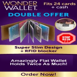 As Seen At TV Presents: Wonder Wallet - $19.99 plus $5.99 S&H<br>Buy One, Get a 2nd One FREE w/S&H - Wonder Wallet� Features: See everything at a glance; Made with genuine leather; Holds up to 24 cards; The patented design lays cards out like a photo album; The soft, supple leather flexes so it�s comfortable to sit on, even in the car; RFID blocking stops remote scanning of cards and protects private information; Available in black, red, tan, pink, gray, and blue. Available here on http://www.AsSeenAtTV.com!